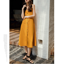 Spring and summer new style Temperament dress Yellow strap A Solid color beach