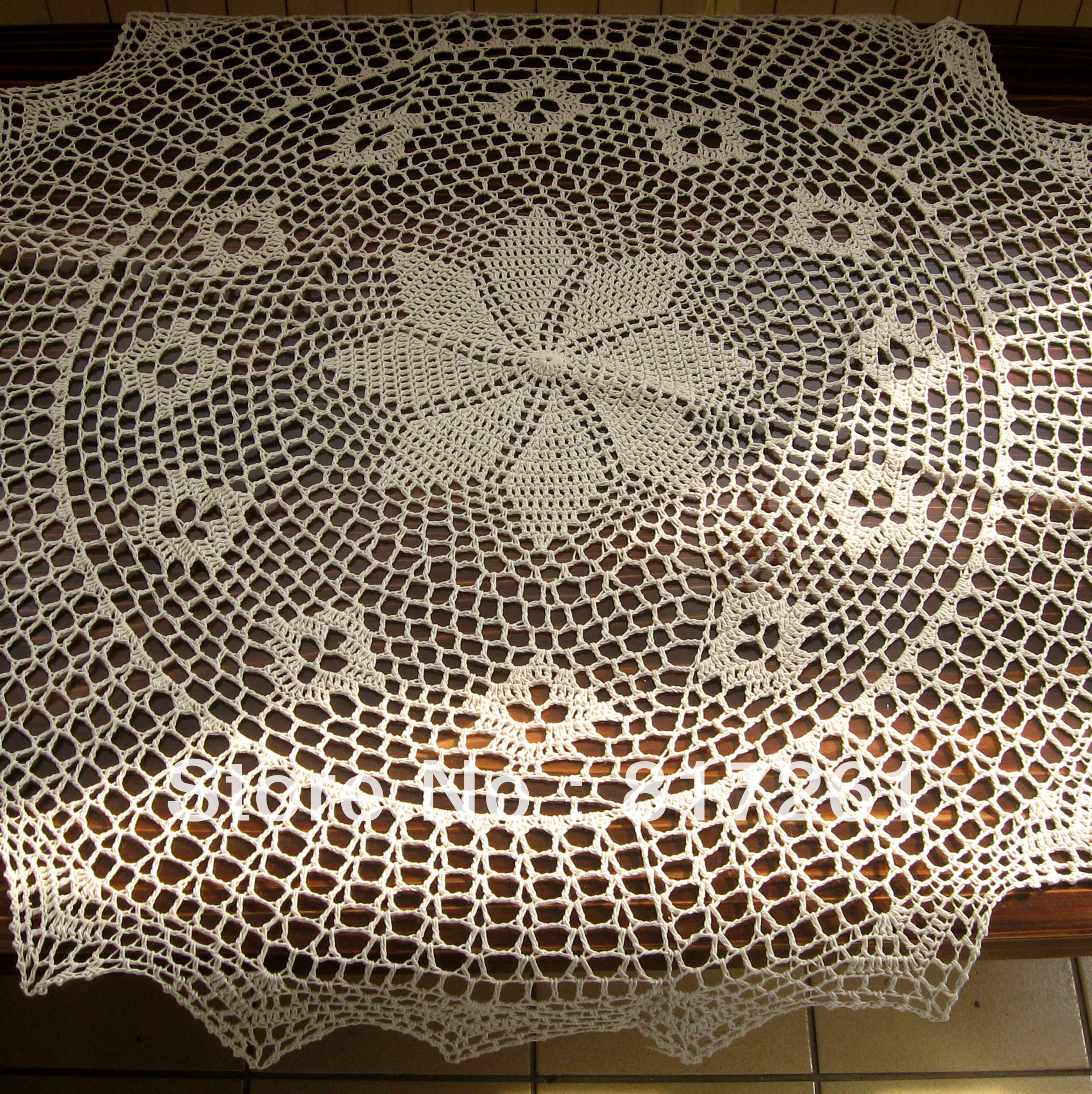 Free shipping cotton crochet beige 90cm round table cloth for ...