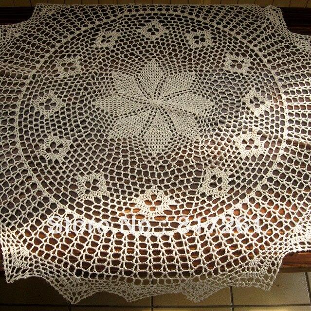 Ganchillo del algodón del envío libre beige 90 cm mantel redondo ...