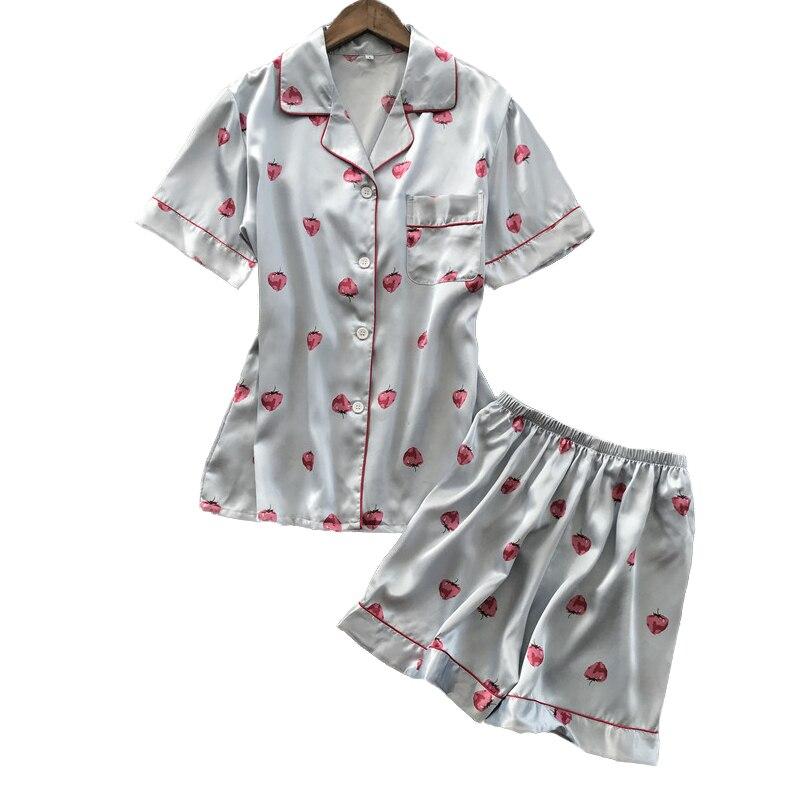 Lisacmvpnel Short Sleeve Printing   Pajama     Set   Woman Rayon Sweet Strawberry Sleepwear