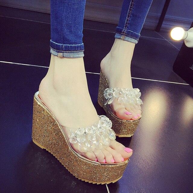 6e1b5bf57d4f Rhinestone Women s Sandals 2018 Fashion Lady Girl Sandals Summer Women  Casual Jelly High-heeled Sandals Platform Sandals