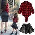 Outono inverno conjunto de roupas infantis meninas xadrez de manga comprida t-shirt tops + saia de couro dress 2 pcs da criança do bebê da criança outfits set