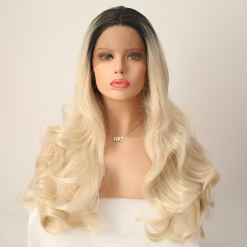 Charisma Ombre Blonde Wig Heat Resistant Hair Lace Front Wig with Black Roots Long Body Wave