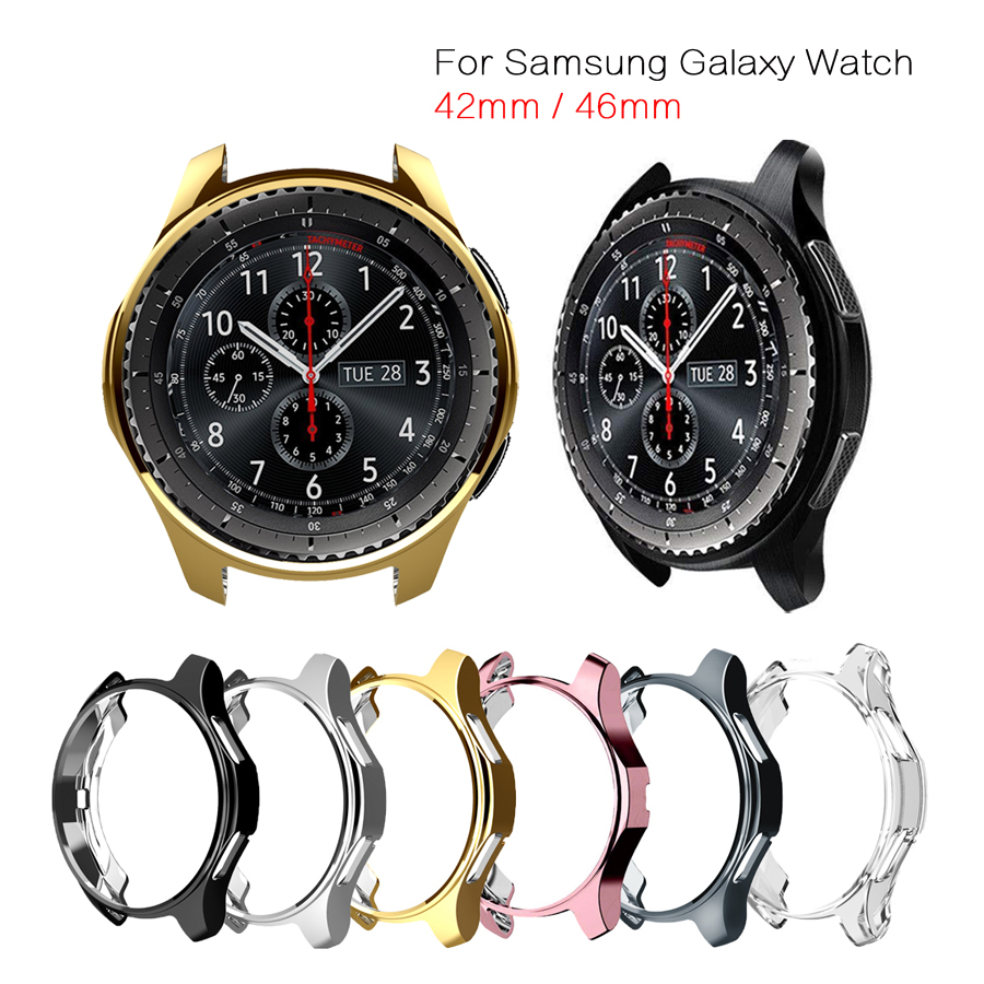 Protective Case for <font><b>Samsung</b></font> Galaxy Watch 42mm/46mm Soft TPU Plated Watch Cover Frame <font><b>Skin</b></font> Protector for <font><b>Samsung</b></font> Gear <font><b>S3</b></font> <font><b>Frontier</b></font> image