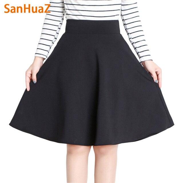 Sanhuaz осень-зима юбки 2017, женская обувь длинные Плиссированные Миди юбка-трапеция Высокая Талия красные, черные женские юбка Формальные Faldas
