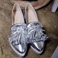 Mocassins borla Novo 2017 Mulher Apartamentos Sapatos Casuais Deslizar Sobre Mocassim de Camurça Mulheres Sapatos Da Moda Senhora Meados Salto plataforma Bowtie sapatos