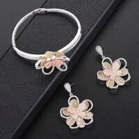 2 PCS Flora Shape Bangle Earrings Jewelry Set Full Micro Cubic Zirconia Dubai Indian Wedding Sets For Women Dress Jewelry Sets