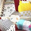 Estilo nórdico Impresión Juego de Cama de Bebé Cómodo Cuna Set de Dibujos Animados de Algodón Hoja de Cama Cubierta Del Edredón Funda de Almohada ropa de Cama de Bebé