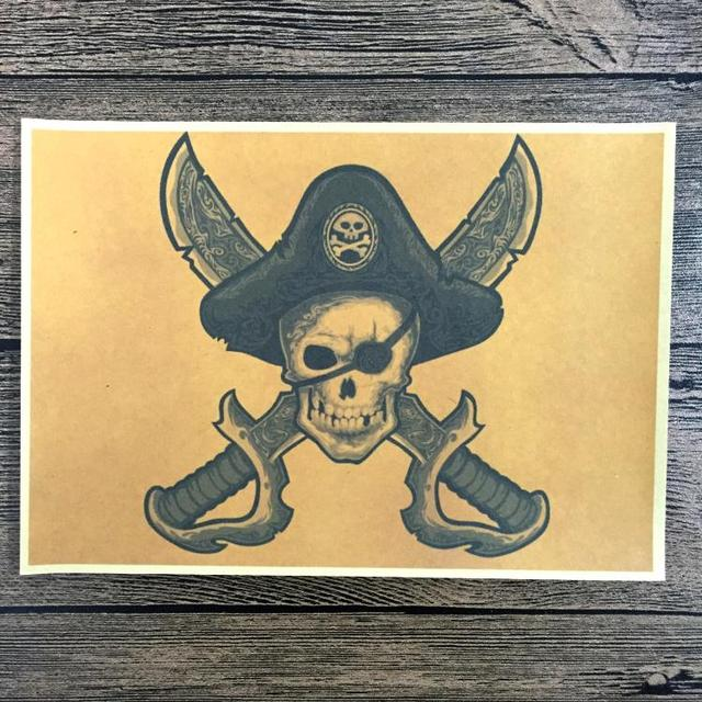 Free ship Retro SKULL pirate Poster Vintage Wall Art Crafts Sticker ...