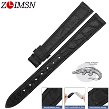 ZLIMSN Genuine Alligator Watch Strap Band Accessories Black Crocodile Leather Watchband 12mm-24mm Bracelet  For OMEGA