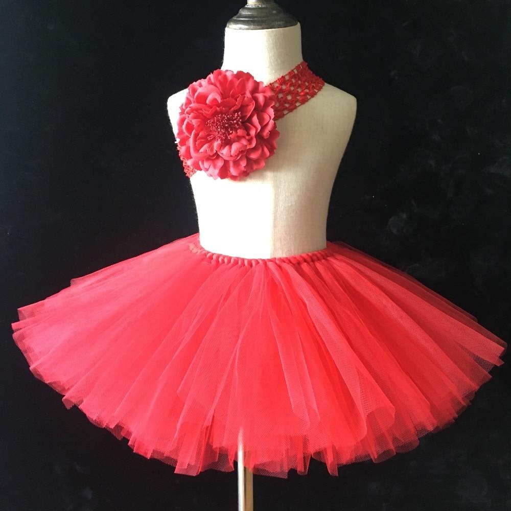 4a9aaca40 Venta al por menor faldas tutú rojo para niñas bebé hecho a mano mullido  tul Ballet Pettiskirt baile Tutus con diadema de flores falda de verano ...