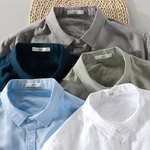 2018 New sky blue shirt men linen solid summer and autumn long sleeve shirt mens cotton square collar shirts male chemise