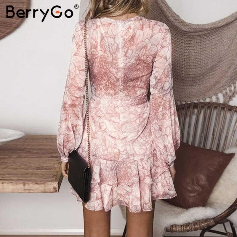BerryGo женское платье с v-образным вырезом и рюшами, винтажное богемное пляжное летнее платье с длинным рукавом, цветочный принт, сексуальное короткое вечернее платье vestidos
