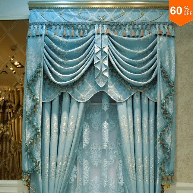 Luxury crystal curtain Gold quality thickening fashion blue jacquard window finished curtain cloth customize drapes and curtains