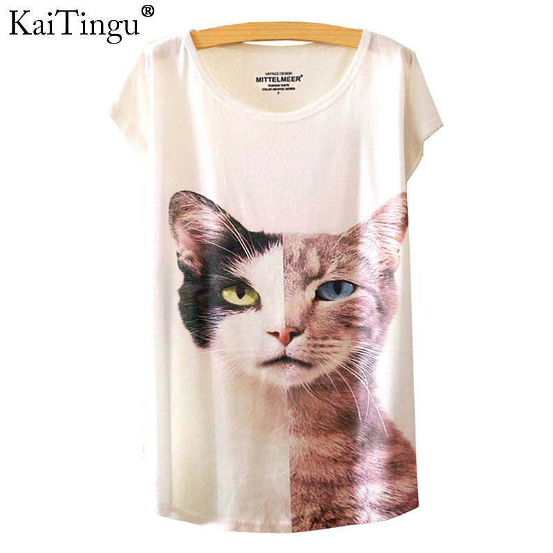 KaiTingu 2017 Brand New Fashion Spring Summer Harajuku O-Neck Short Sleeve T Shirt Women Tops Cat Printed T-shirt Free Shipping