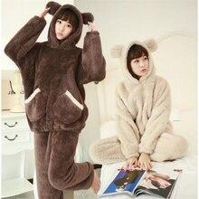 Зимние женские пижамы из двух частей, плотные фланелевые пижамные комплекты с милым медведем и капюшоном, милая Пижама, длинная ночная рубашка, одежда для сна