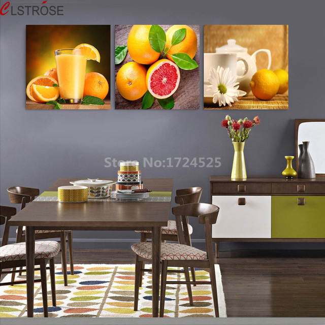 CLSTROSE Hot Sale Top Fashion Unframed Modern Fruit 3 Pcs Wall Art Juice Teacup Pictures Home Kitchen Decoration Hanging On Wall