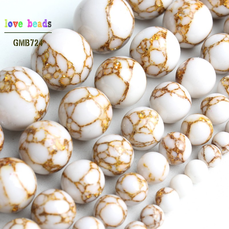 White Howlite Spun Gold Loose Stone Round Beads For Jewelry Making DIY Bracelet 15'' Strand 4/6/8/10/12mm(China)