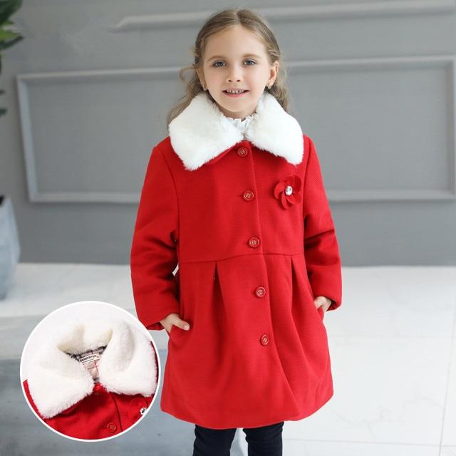 ecfdad54c7 R$ 208.79 |Moda Inverno Meninas Gola De Pele Casaco de Cor Sólida Vermelho  2 3 4 6 8 10 Anos Criança Casacos de Inverno 2019 roupa dos miúdos ...