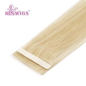 K.S парики, прямые линии любви, бесшовные, кожа, волосы для наращивания, Remy, лента, человеческие волосы 16 ''20'' 24''