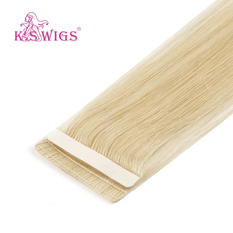 K.S WIGS Straight Love Line Seamless Skin Weft Hair Extensions Remy Tape In Human Hair 16'' 20'' 24''