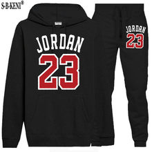 2019 New Brand Tracksuit Fashion JORDAN 23 Men Sportswear Two Piece Sets All Cotton Fleece Thick hoodie+Pants Sporting Suit Male(China)
