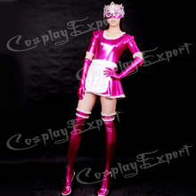 Free Shipping DHL Sexy Fancy Dress Adult Sexy Hot PinK Maid Shiny Metallic Catsuit Dress Catsuit For Halloween Party SM1513