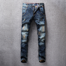 купить Fashion Streetwear Men Jeans Dark Blue Big Pocket Cargo Pants Slim Fit Embroidery Ripped Jeans For Men Classical Vintage Jeans дешево