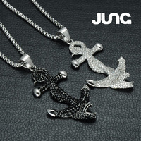 JUNG Zirconia Snake Head Anchor Stainless Steel Necklace Charms Sweater Chain Pendant Accessories Jewelry Men Women