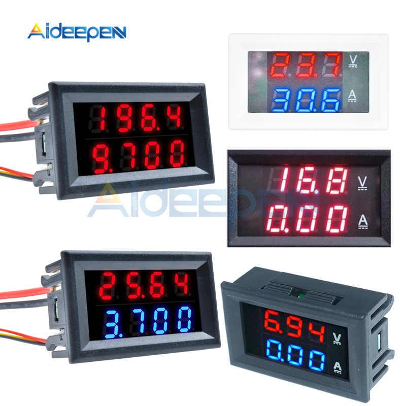 "DC 100V 200V 10A 50A 0.28 ""MINI DIGITAL Voltmeter Ammeter 4 บิต 5 สายไฟแรงดันไฟฟ้าปัจจุบันเครื่องทดสอบสีน้ำเงินสีแดงจอแสดงผล LED"