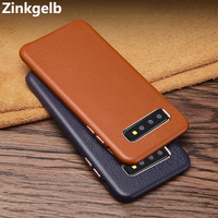 For Samsung S10 Case Cover Luxury Genuine Leather Hard Shockproof Armor Phone Case for Samsung S10E S10 Plus Back Cover Funda