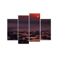 Modular Pictures The Village in Sunset Modern Landscape Canvas Prints Artworks Country Scene Spray Printing Paintings on Canvas