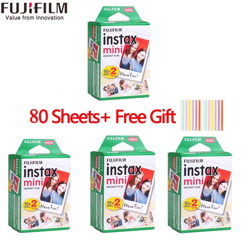 Fujifilm instax mini film 60 80 100 feuilles bord blanc 3 pouces de large film pour appareil Photo instantané mini 8 9 7 s 25 50 s 90 papier Photo + cadeau