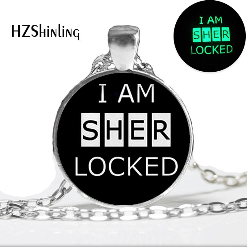 2015 New Fashion Glowing Jewelry Sherlock Necklace pendant. Glass Dome Art photo glow in the dark necklace