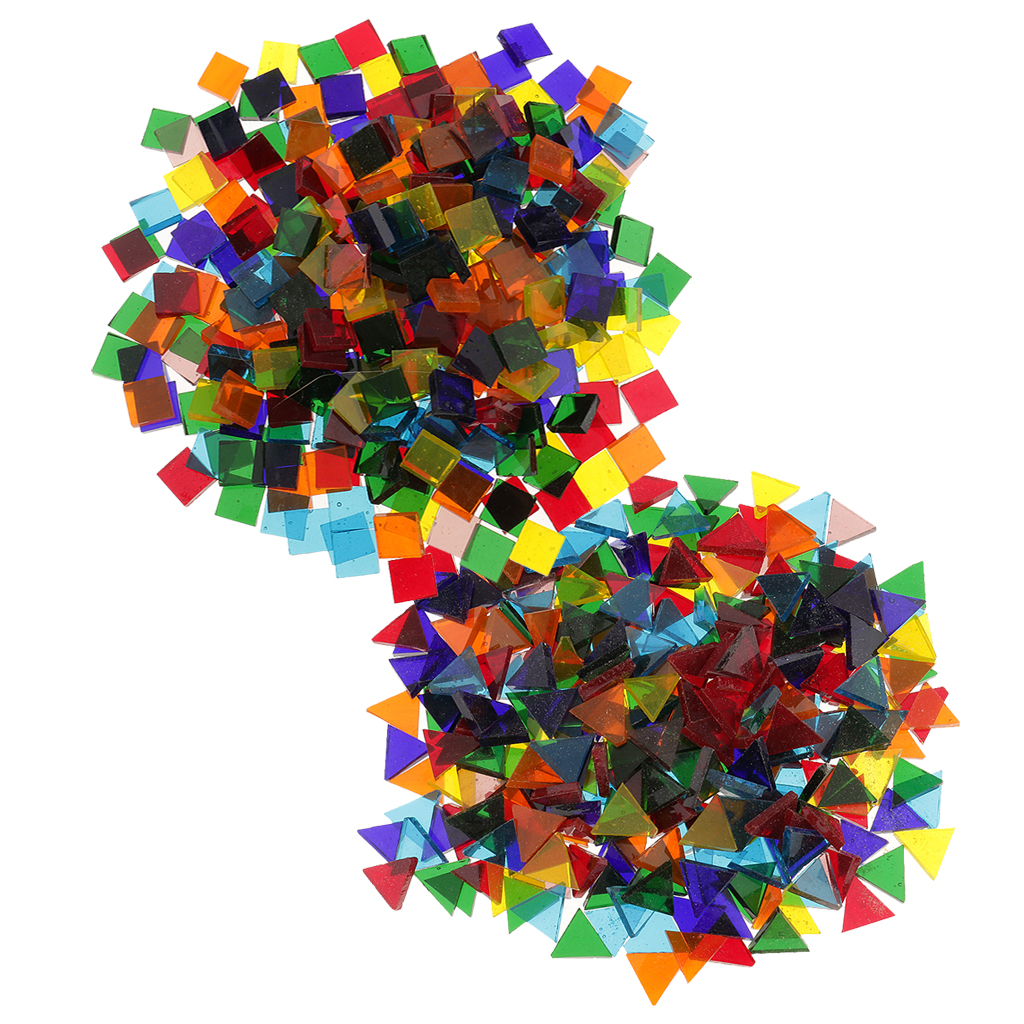 Craft mosaic tiles cheap - 500pcs Mixed Color Clear Triangle Square Glass Mosaic Tiles Pieces For Diy Craft Art China