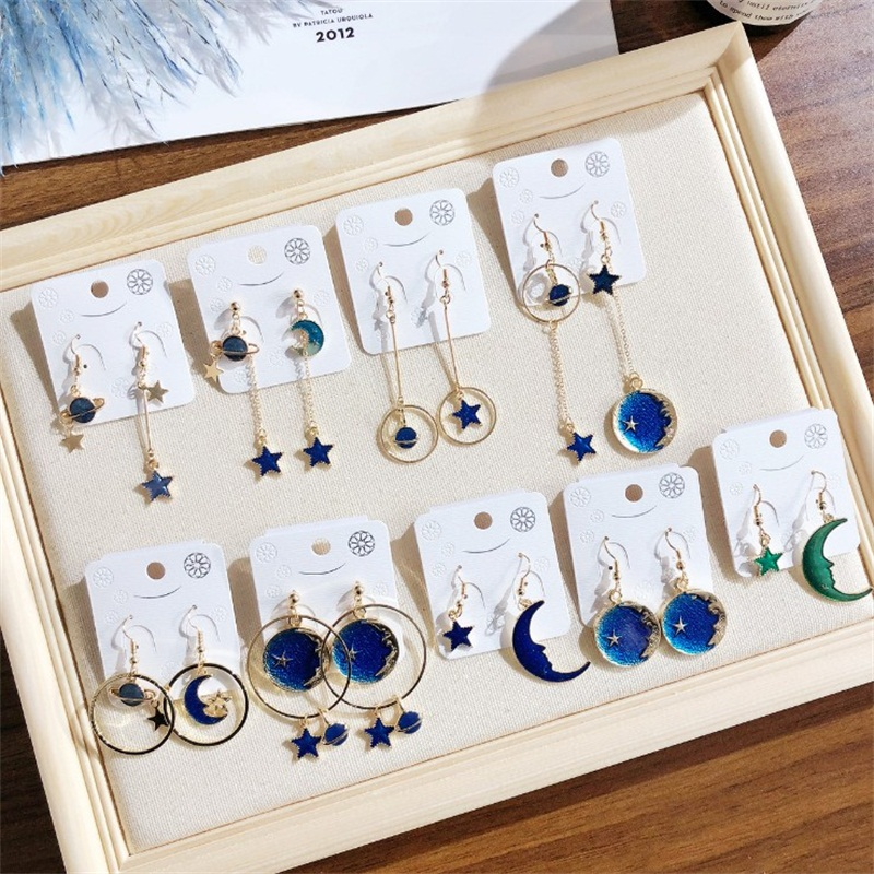 2019 Fashion Blue Universe Starry Planet personality star moon geometric round Asymmetric Long dangle Earrings for women jewelry