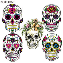 ZOTOONE Cheap Iron On Transfers For Clothes Iron-on Heat Thermal Transfer Stickers Skull Batman Patch Chile Badge Applique E
