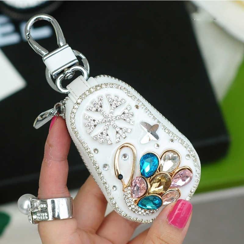 Сумка для ключей Женская кожа милый пони горный хрусталь алмаз дамы универсальный для автомобильных ключей чехол