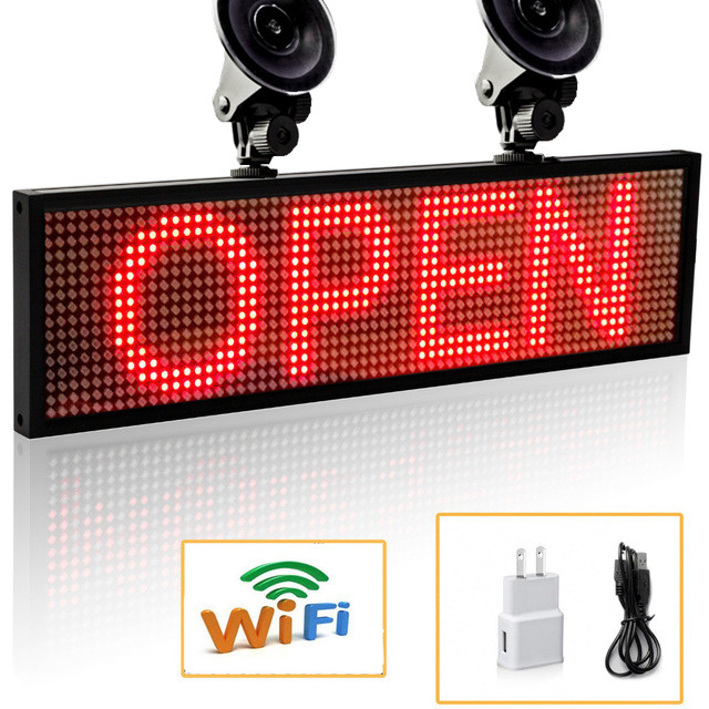 2018 Portable 12v P5 Smd Red WiFi Indoor LED Signage Storefront Open Signage Programmable Scrolling Display Board signage
