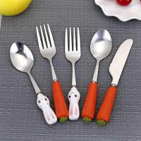 Utensilios de Feeding para bebé, tenedor de conejo de zanahoria, tenedor para bebé, cuchara de acero inoxidable para bebé, vajilla con mango de enchufe bonito
