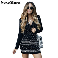 SexeMara 2018 Pearl Sequin Party Dress Women Sexy Deep V Neck Long Sleeve Bandage Dress Winter
