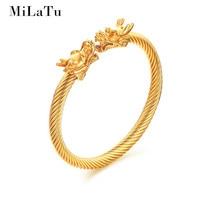 UJBOX Gold Plated Stainless Steel Men Double Dragon Head Cuff Bracelets Adjustable Wire Bracelets Bangles Men