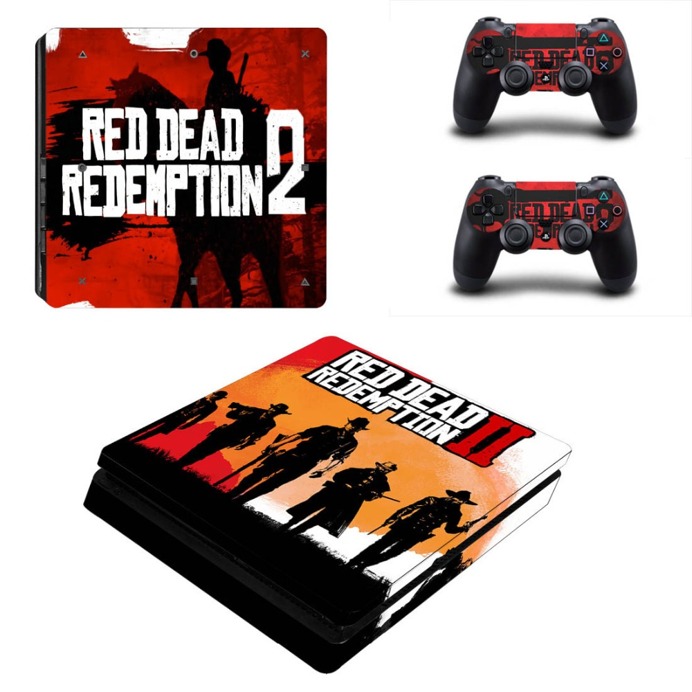 Vinyl Decal Protective Skin Cover Sticker for PS4 Slim Console & Controller - Red Dead: Redemption II