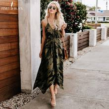 PinkyIsBlack 2019 New Summer Fashion Women Sexy Strap Backless Dress Casual Camouflage Military V-Neck Print Midi Long Dresses