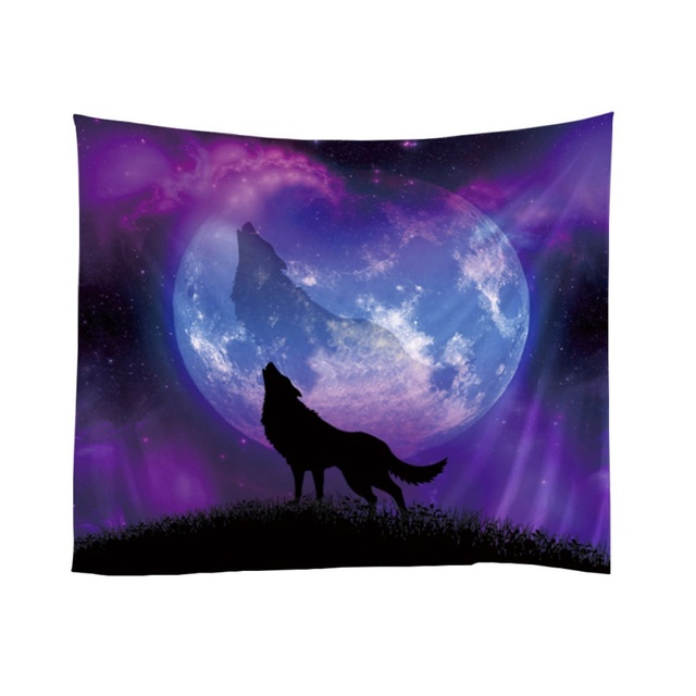 tapestry home wolf sky tree shadows pattern tapestry cute wall