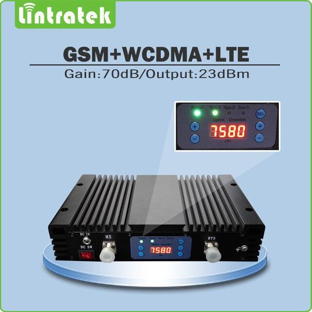 Üç Bant 2G/3G/4G Yüksek Kazanç 70dB Cep Sinyal Booster GSM900 + UMTS 2100 + LTE2600 Sinyal Tekrarlayıcı ile lcd ekran ve AGC/MGC