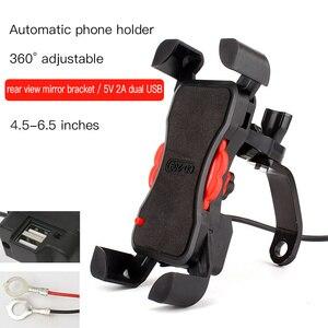 Image 5 - Soporte de teléfono para motocicleta manillar giratorio 360, soporte para teléfono móvil y espejo retrovisor para bicicleta