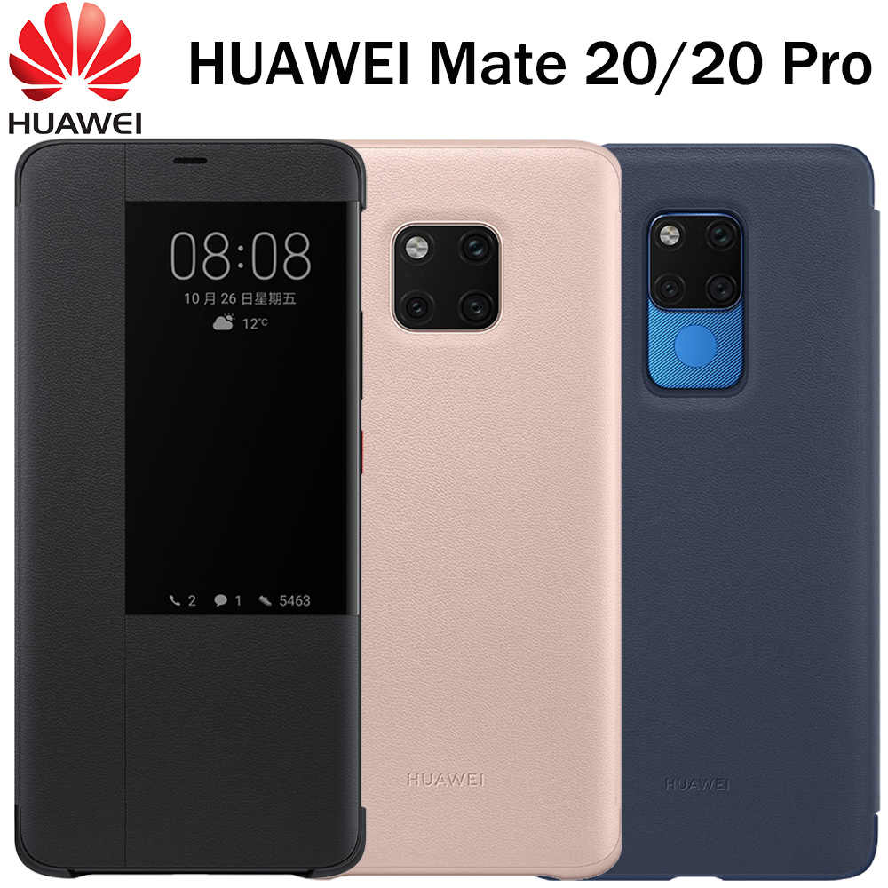 new product a47e2 55897 Huawei Mate 20 Pro Case Flip Cover 100% Original Official Huawei Mate 20  Mirror Window Smart Touch View Leather phone Case capa