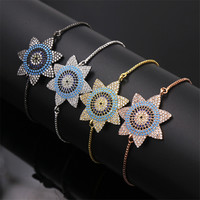 Dower Me Fashion Bohemia Sunflower Blue White Crystal Black Sky Blue Natural Stone Bracelet Femme 4