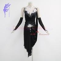 New style latin dance costumes senior sexy stones sleeveless latin dance dress for women latin dance competition dresses 2XS 6XL